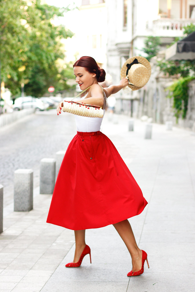 red midi skirt11