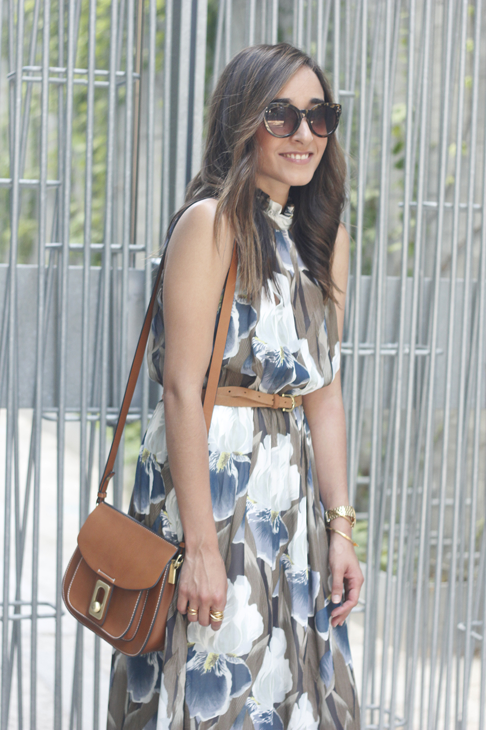 Maxi Dress With Floral Pattern heels summer outfit style07