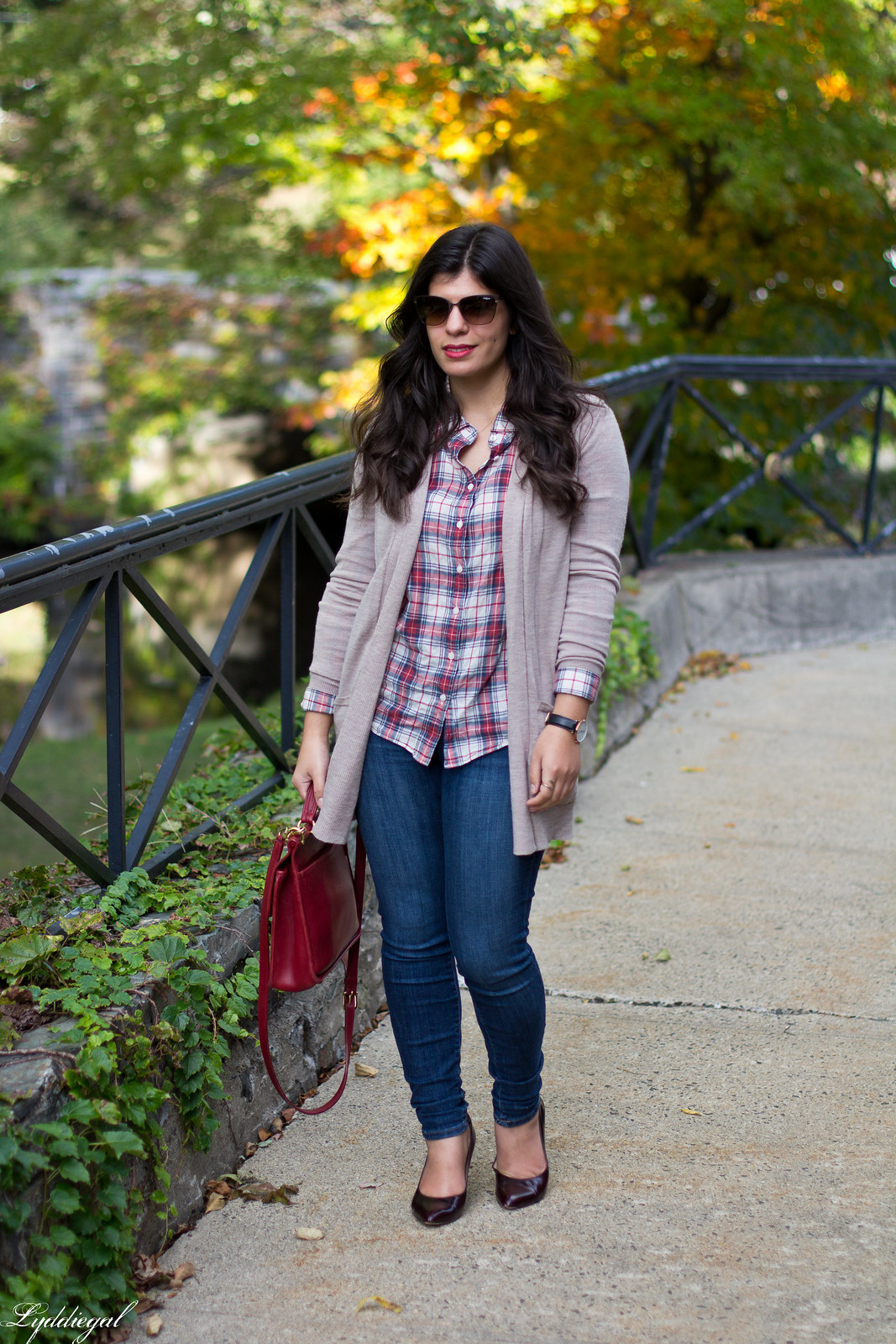 plaid shirt, camel cardigan, jeans, red coach willis bag-1.jpg