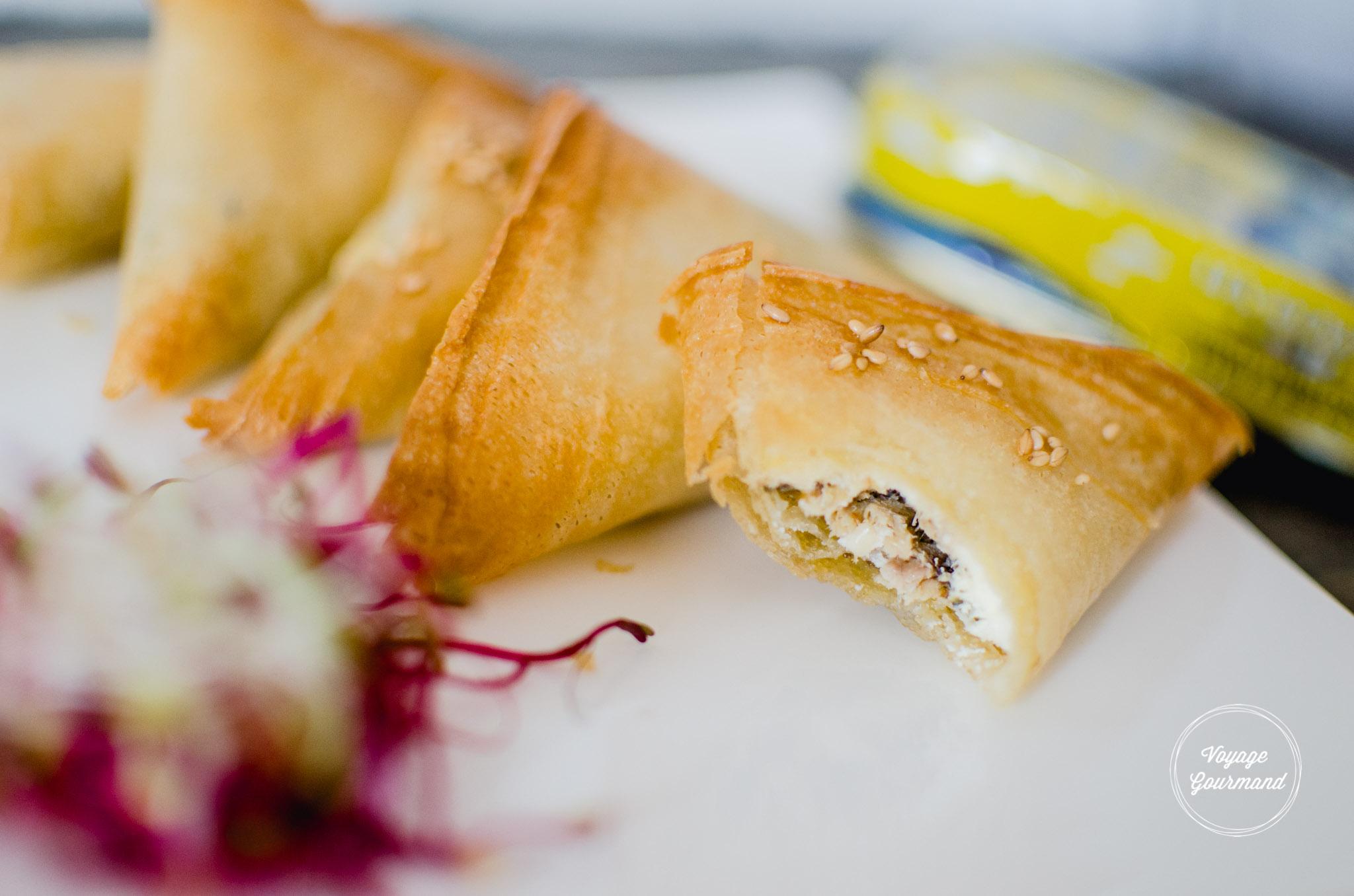 Samoussas de sardines et fromage frais à la menthe