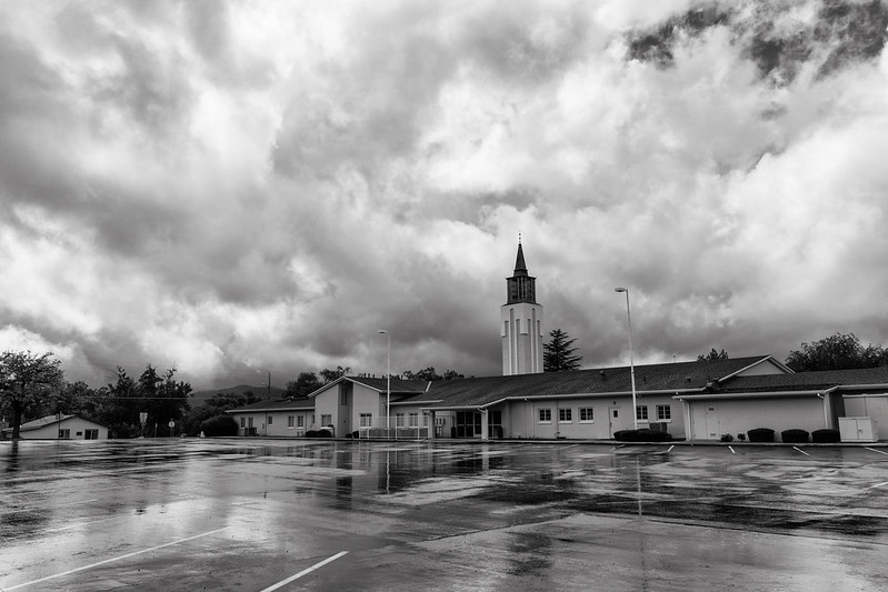 Church on Rainy Day B&W
