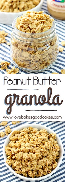 This Peanut Butter Granola is made using common pantry staples and is loaded with peanut butter flavor! Sprinkle it on top of Greek yogurt or enjoy it on its own for a snack or breakfast you'll love! AD