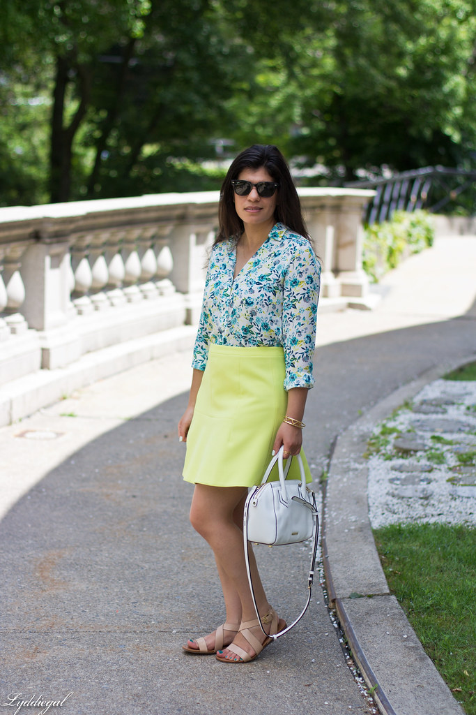 floral blouse, neon skirt, white bag, gorjana vista cuff.jpg