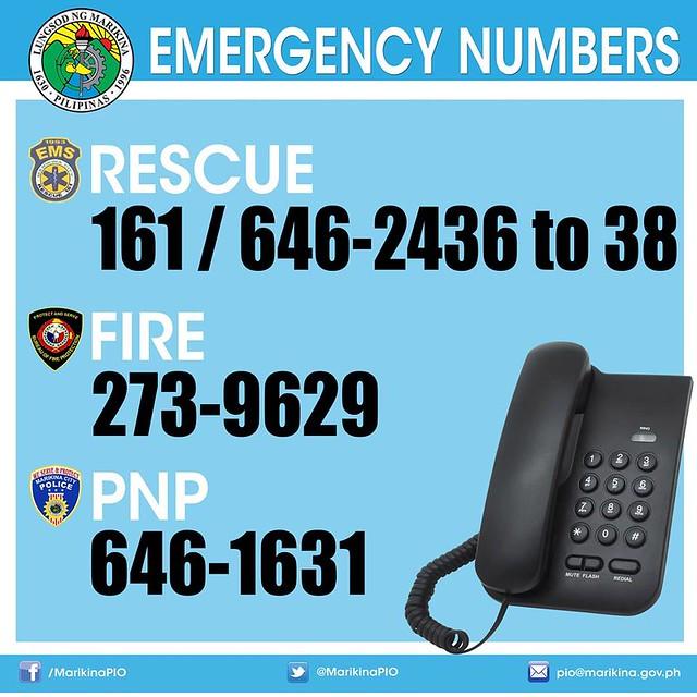 Marikina Emergency hotline telephone numbers
