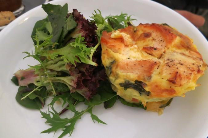 Baked salmon, potato & dill frittata