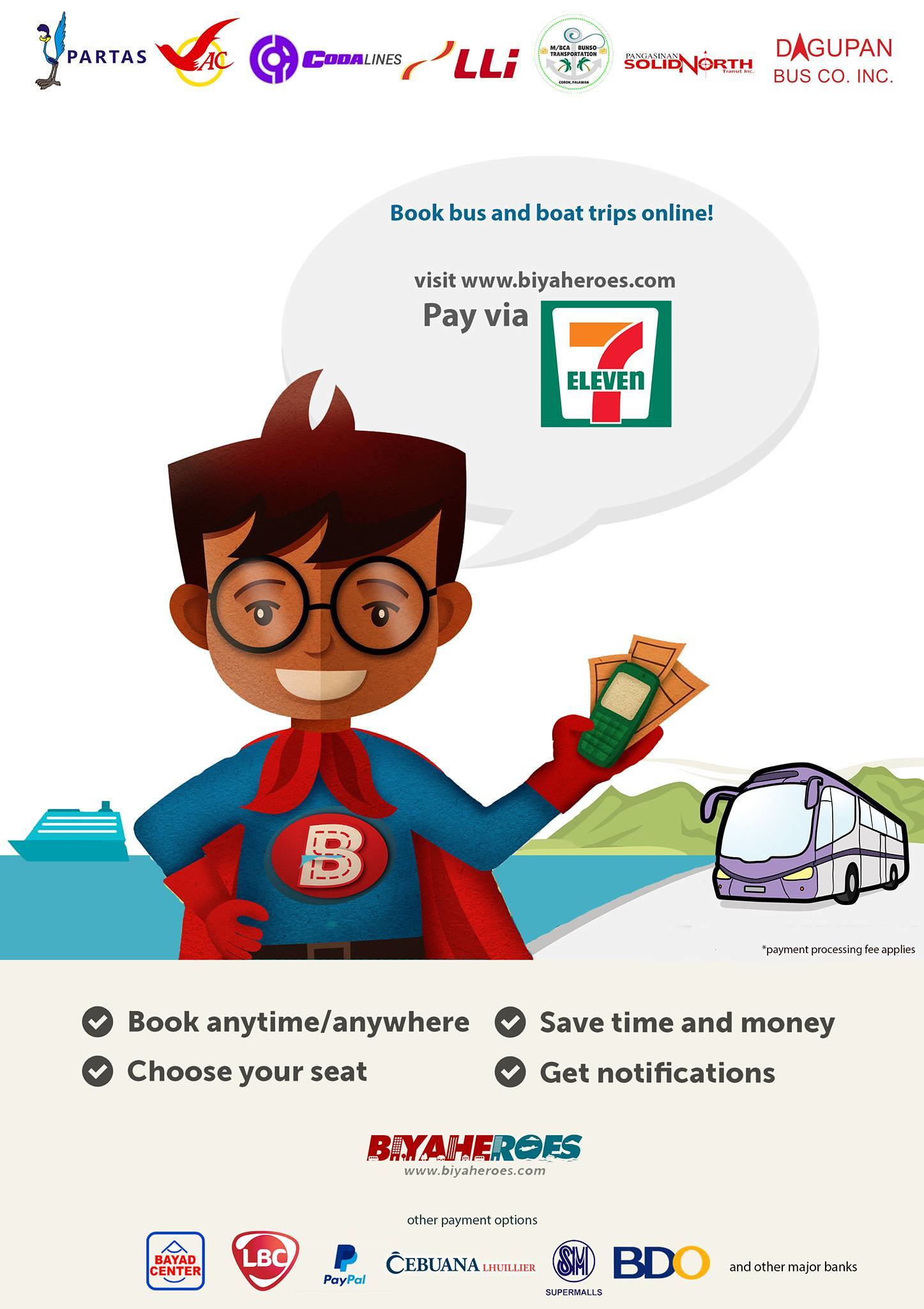 Biyaheroes accepts 7-Eleven payment