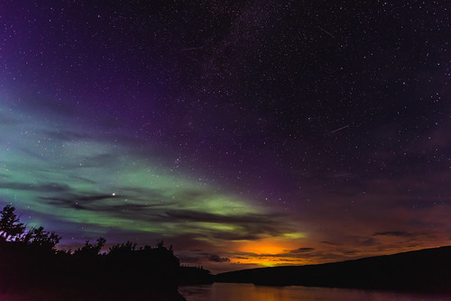 Northern lights, city lights, satellites and meteorites.