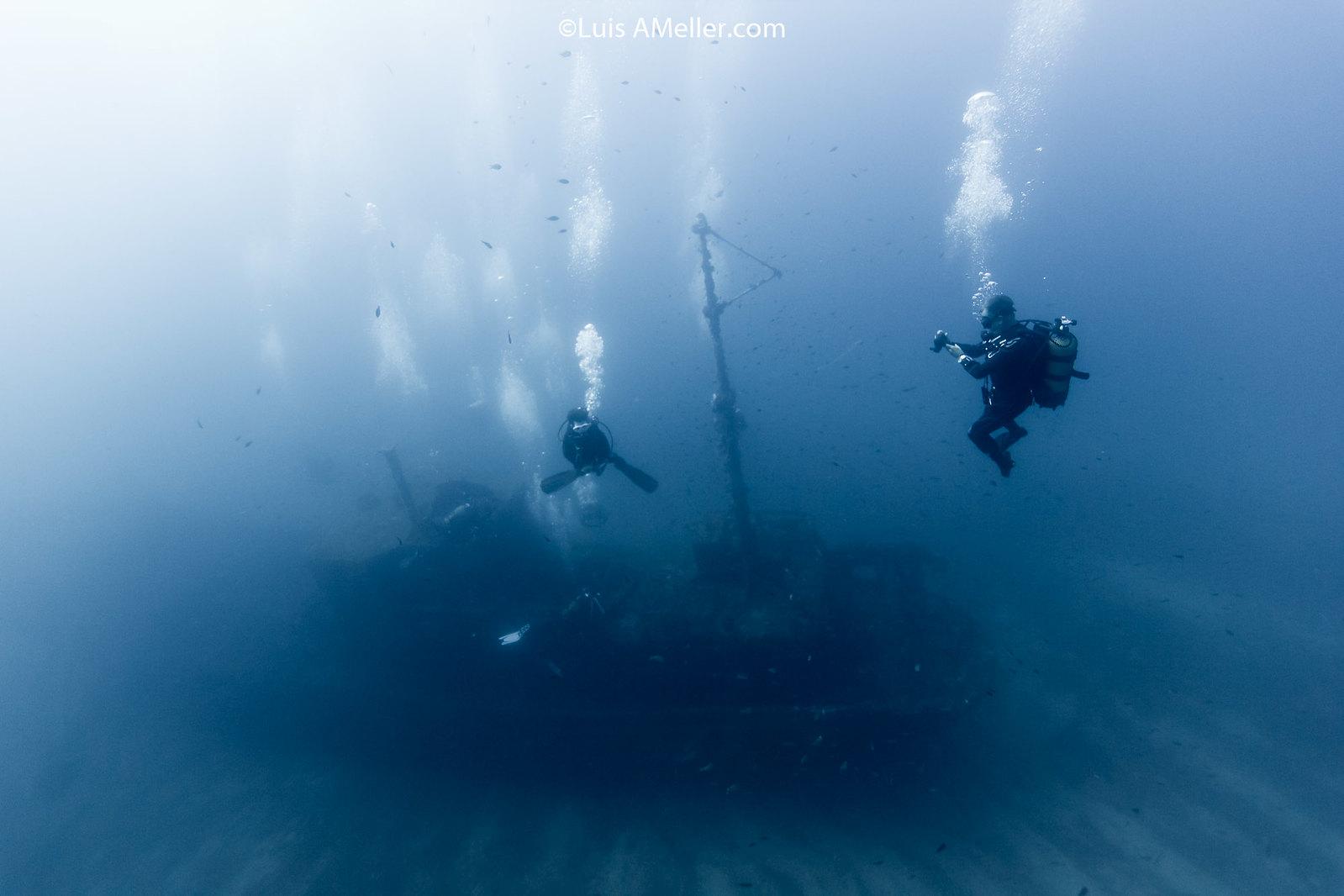 Diver on santa clara wreck menorca