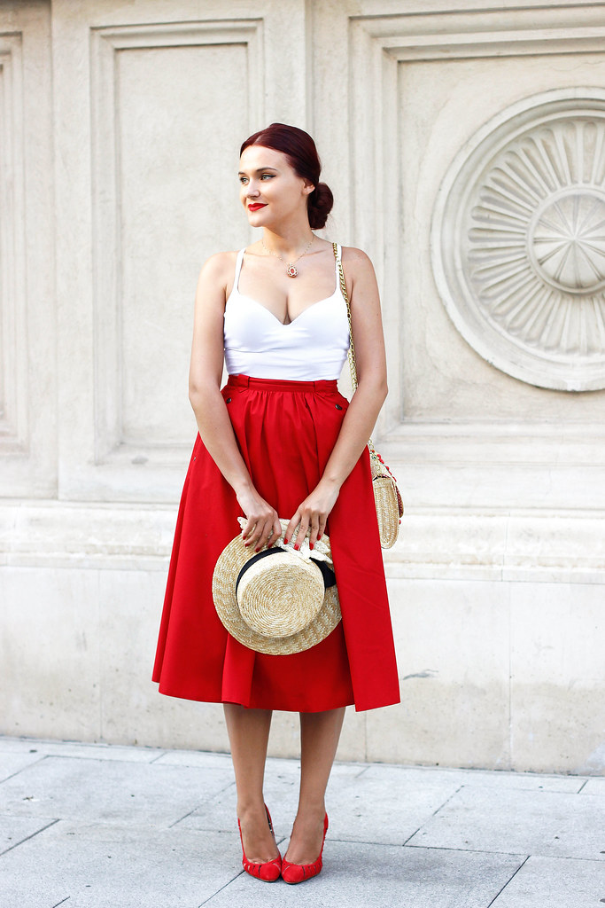 red midi skirt1