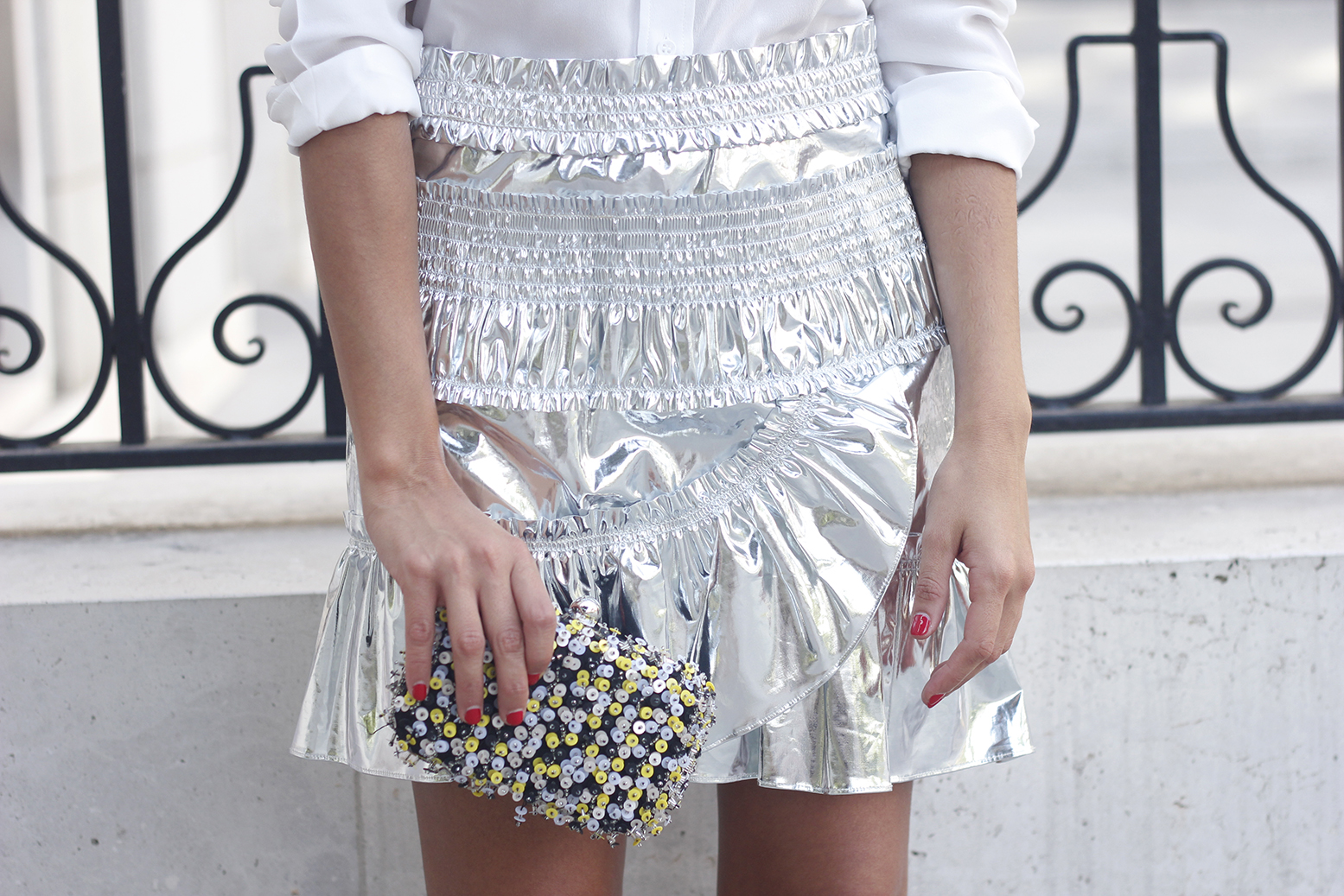 Isabel Marant Metallic Skirt white shirt nude sandals dior so real sunnies outfit style fashion20