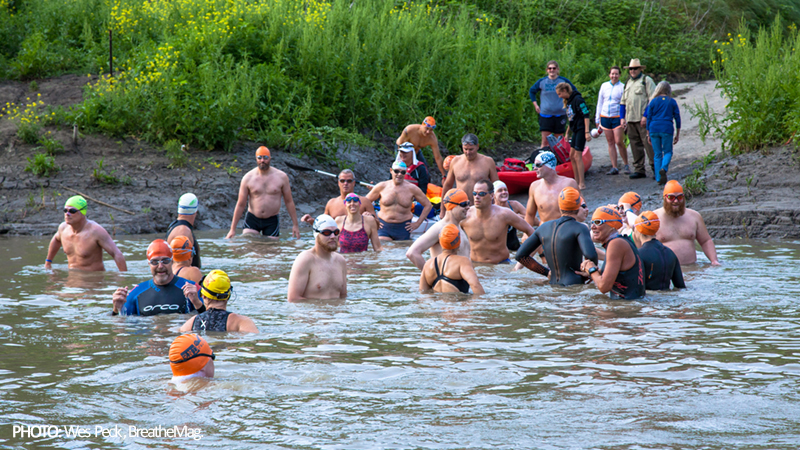 Heroes lined up for 2016 END-WET, a 36 mile downriver swim and the longest (and hardest) swim event in North America. Photo: Wes Peck.