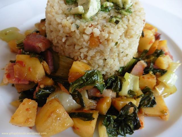 Karotten Couscous mit Pak Choi - Süßkartoffel - Speck (2)