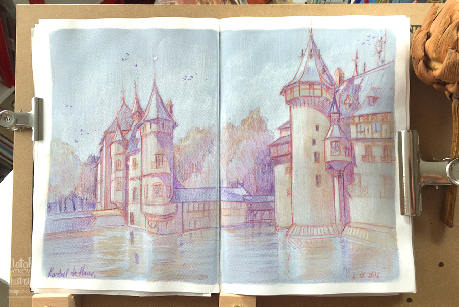 Drawing from life in Castle de Haar