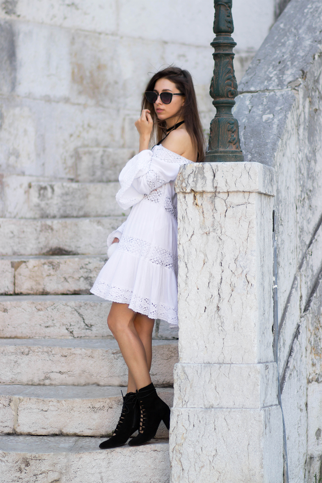 white dress & lace up boots