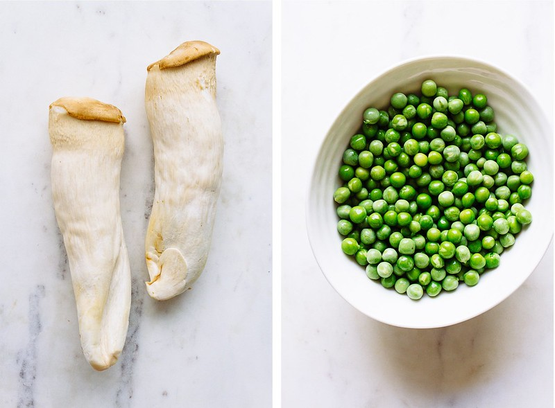 KING OYSTER MUSHROOMS AND PEAS