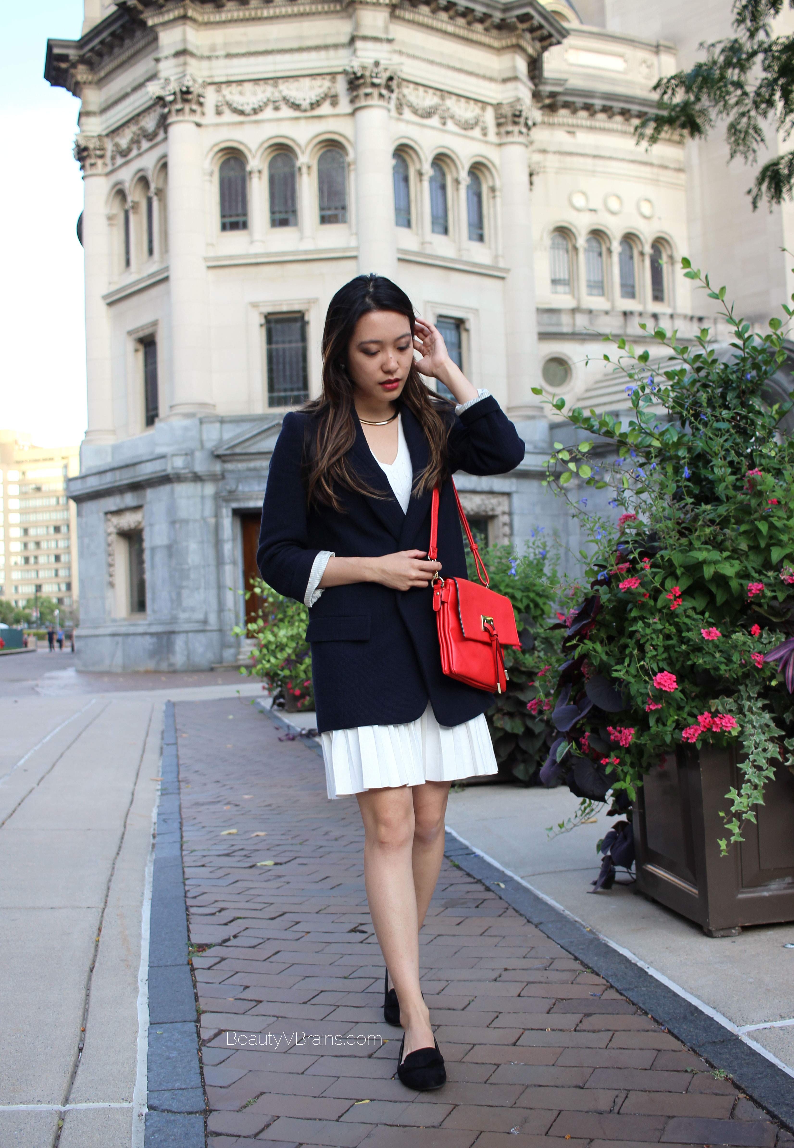 Zara basic oversized blazer and pleated dress