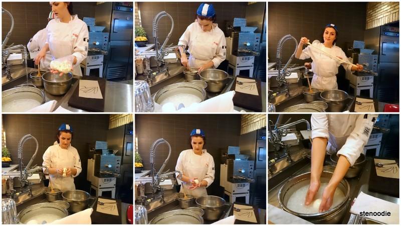Process of making the fresh mozzarella