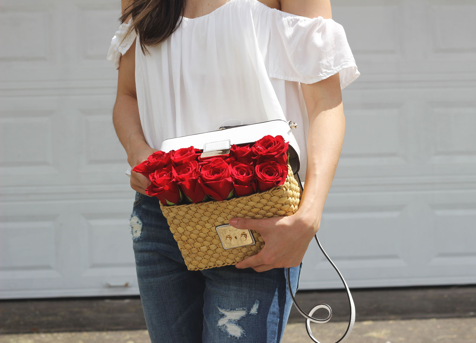 Michael Kors straw picnic basket bag and roses