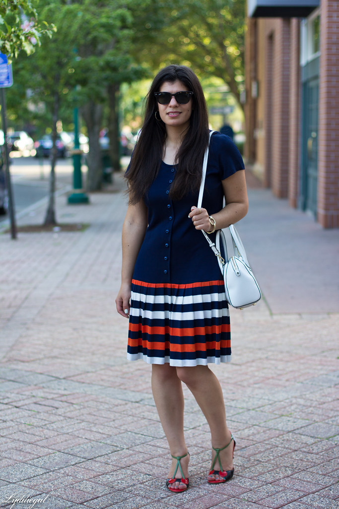 vintage navy striped dress, cherry pumps, white bag-1.jpg