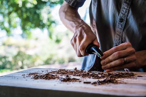 making dark chocolate shavings