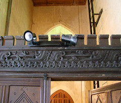 15th Century woodwork reused in the tower screen