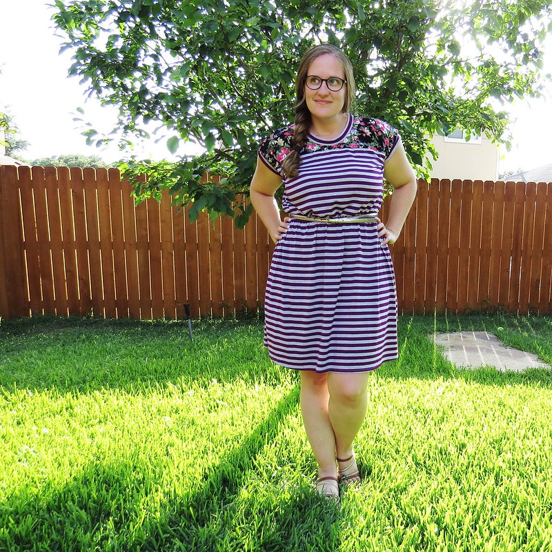 Stripes and Floral Dress Refashion - After