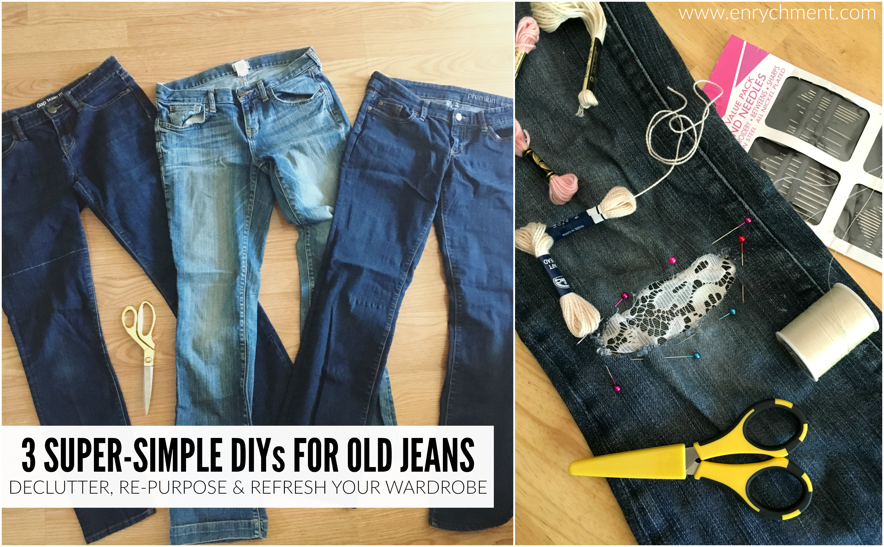 3 Easy DIYs for Old Jeans