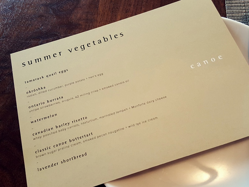 Canoe Vegetarian Tasting Menu