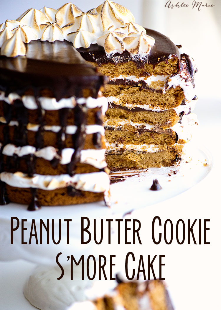 everyone loves S'mores, cookies and Peanut butter - put them all together and you have this amazing peanut butter cookies S'mores Cake!