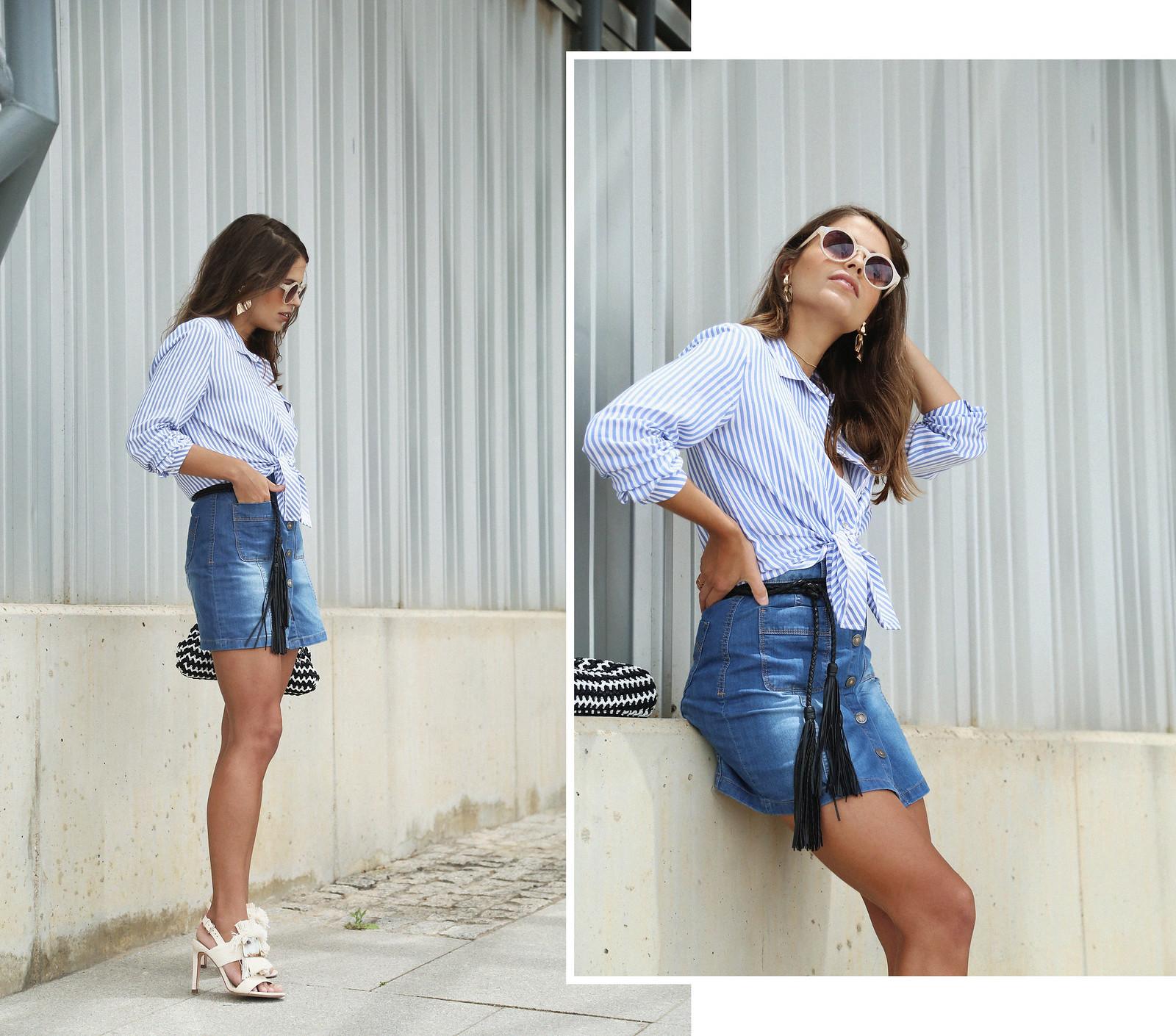 jessie chanes seams for a desire denim skirt stripes shirt-1