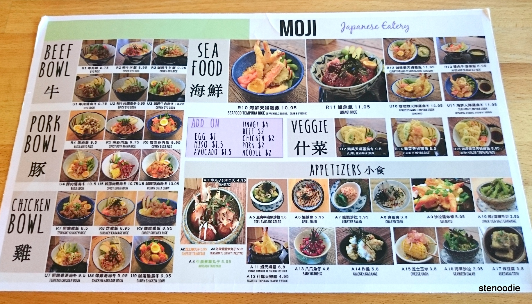 Moji Japanese Eatery menu and prices