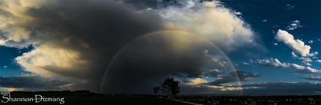 August 11, 2016 - An evening thunderstorm brings a gorgeous rainbow. (Shannon Dizmang)