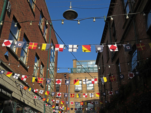 The flag-waving alley that leads to the Duke of York pub in Belfast, Ireland