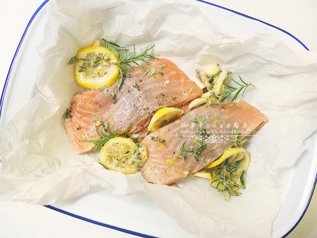 孤身廚房-烤鮭魚排佐香料烤南瓜及蒜香皇宮菜12