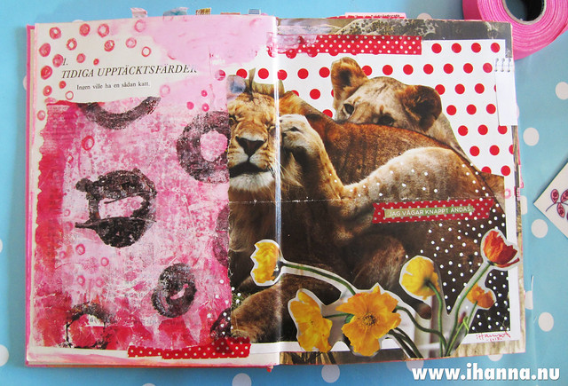Art journal spread: lioness and polka dots, by iHanna