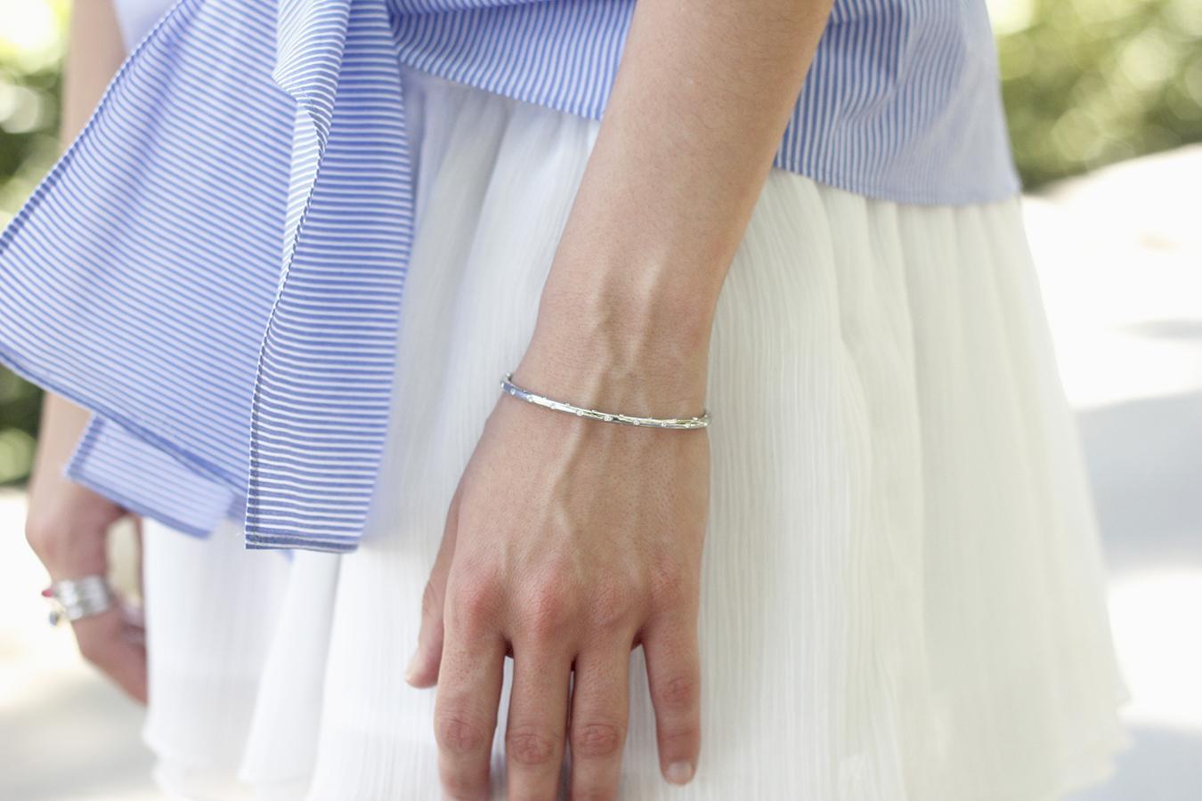 Knotted striped shirt white skirt brosway jewels summer outfit carolina herrera heelsfashion style19