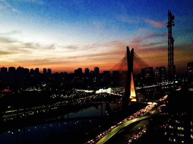 View of Sunset and rush hour traffic from Grand Hyatt Sao Paulo