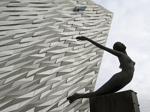 The statue in front of the Titanic Museum in Belfast, Ireland