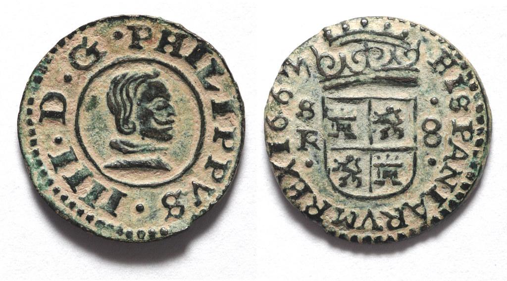 8 Maravedís. Felipe IV, 1663, Sevilla 28580936236_a1e277542a_b