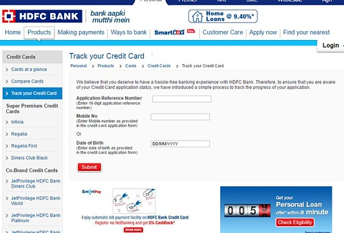HDFC credit card status - HDFC bank credit card application status tracking
