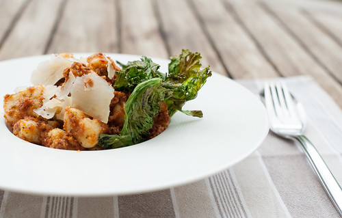 Gnocchi with Sundried Tomato Pesto and Crispy Kale