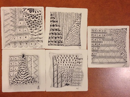 Introduction to Zentangle class tiles, 2016-08-06