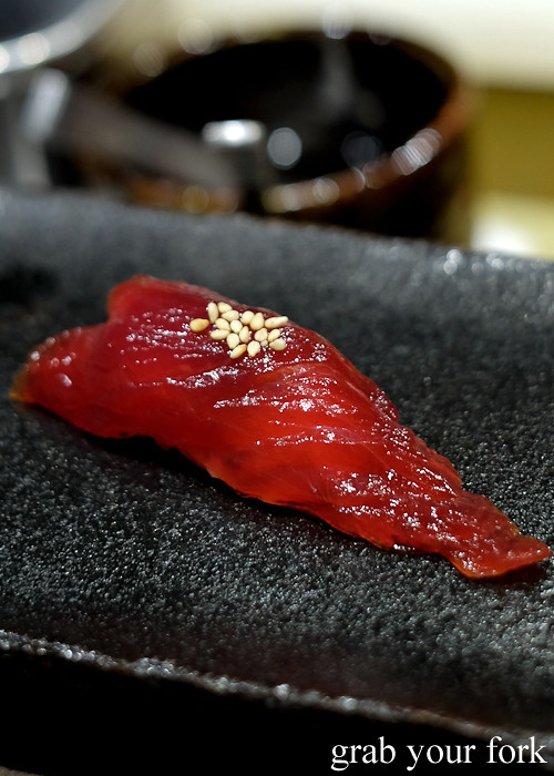 Zuke maguro bluefin tuna marinated with soy nigiri sushi at Hana Ju-Rin in Crows Nest Sydney