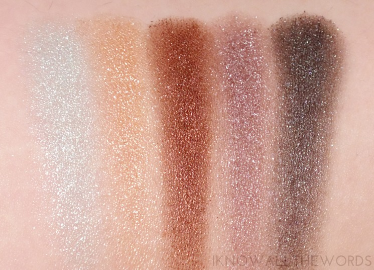 essence metal glam eyeshadows sugar mint candy, hello goldie, choco-chick, are you grey, sparkle all night (2)
