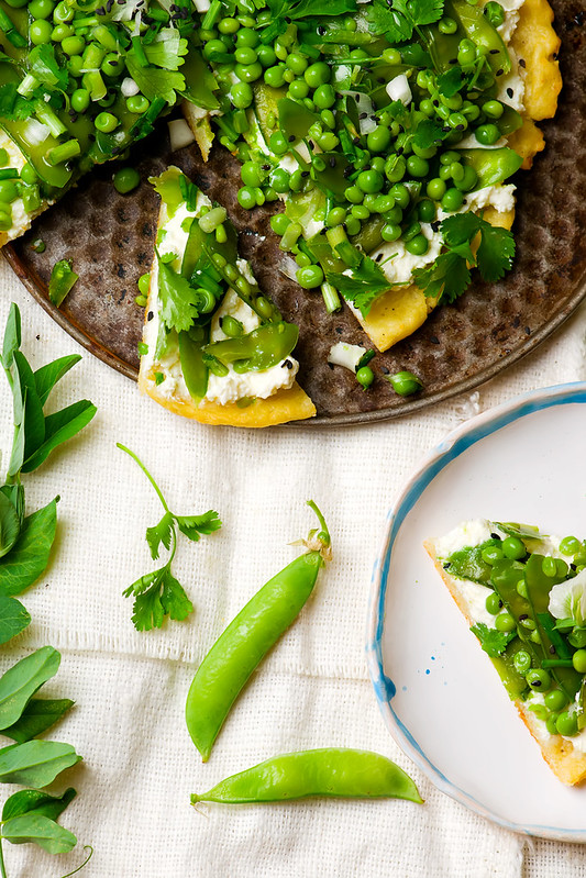 vegetable tart with green peas