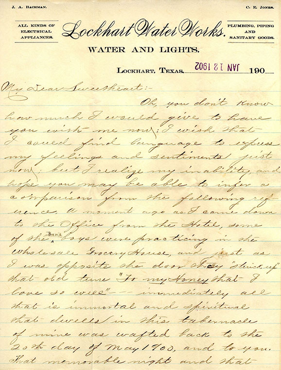 Letter from Edgar Jones to Ella Bachman, 1902 January 12