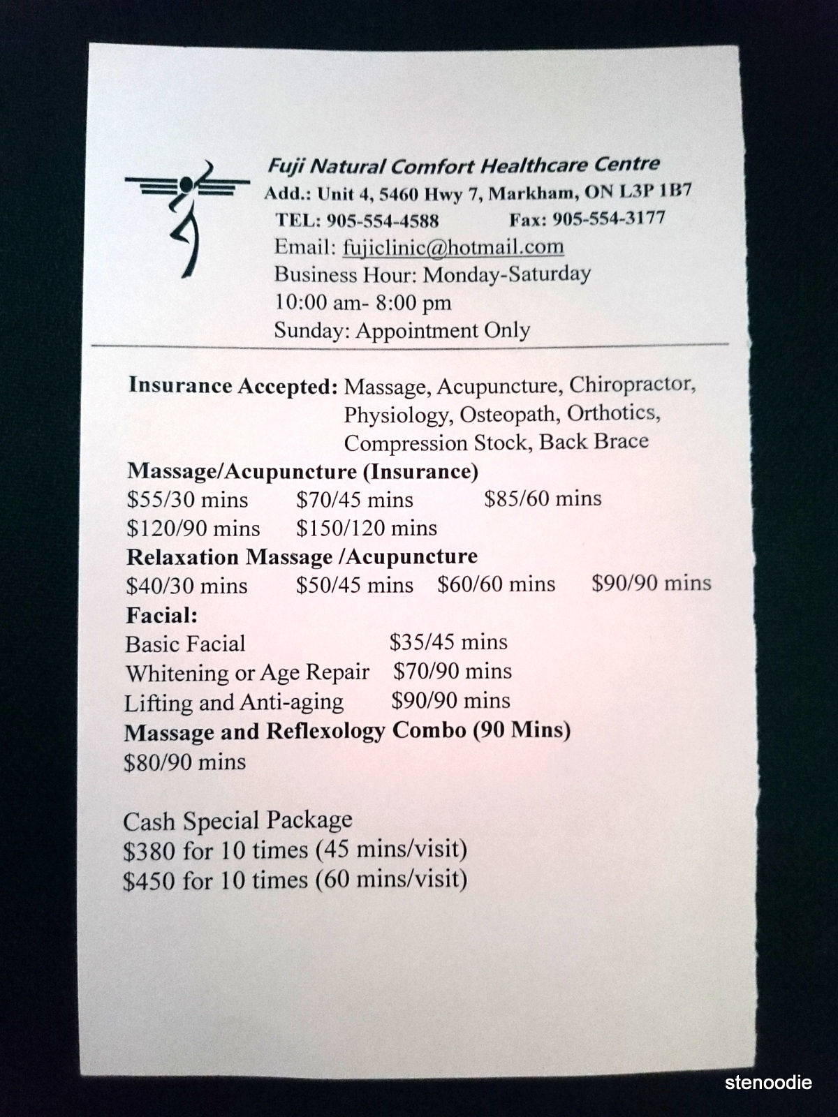 Fuji Natural Comfort Healthcare Centre prices