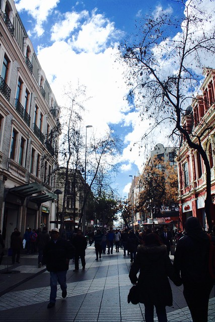 Pedestrian shopping street in downtown Santiago