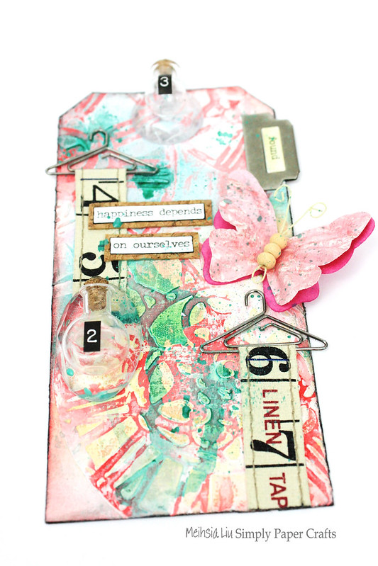 Meihsia Liu Simply Paper Crafts Mixed Media Tag Tiny Bottle Simon Says Stamp Monday Challenge Tim Holtz 2