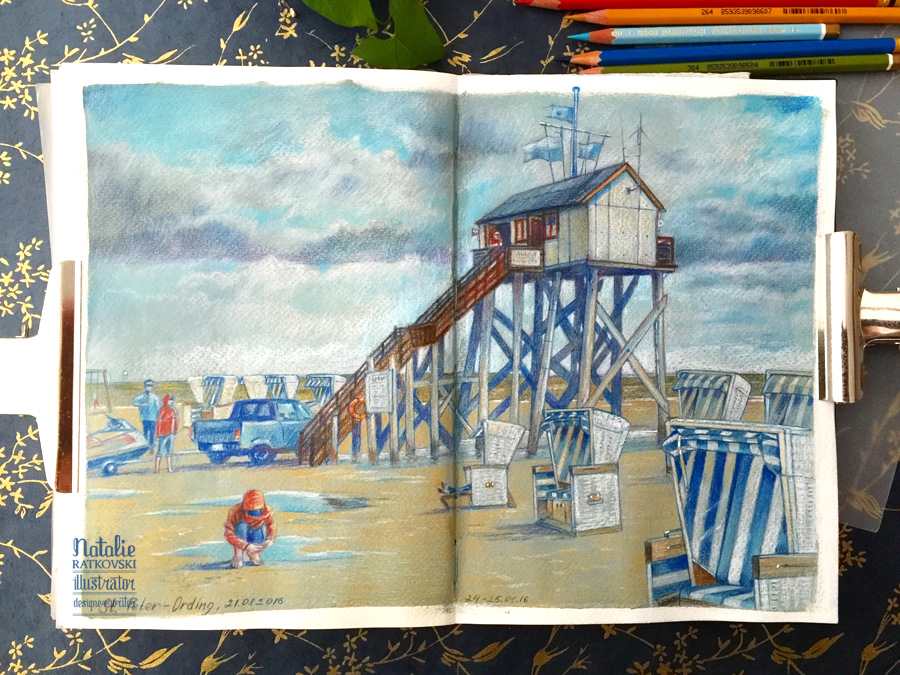Drawing from life in St. Peter-Ording